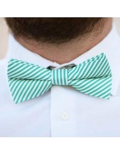 Noeud Papillon Pio vert - noeud papillon à rayures vert et blanc en coton - Comptoir Doré