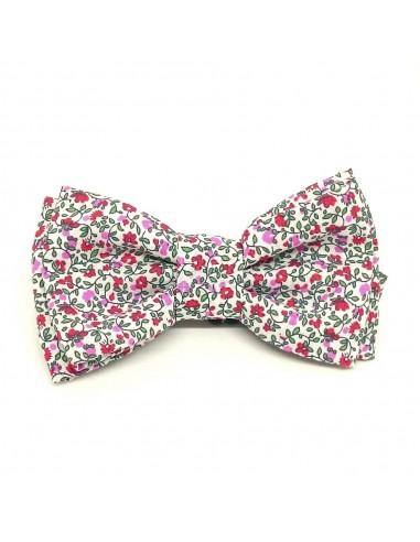 Noeud Papillon Pink Flowers - Noeud pap fleurs roses - Comptoir Doré