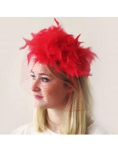 Bibi Lavinia - Location Bibi Mariage rouge plume voilette - L'Ancolie Chapeaux - Comptoir Doré
