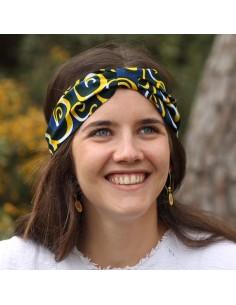 Bandeau Wax Marine - headband wax bleu et jaune - Comptoir Doré