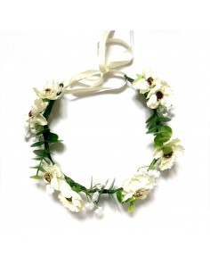 Couronne de fleurs Diane - couronne de fleurs blanches - Séraphine Bijoux - Comptoir Doré