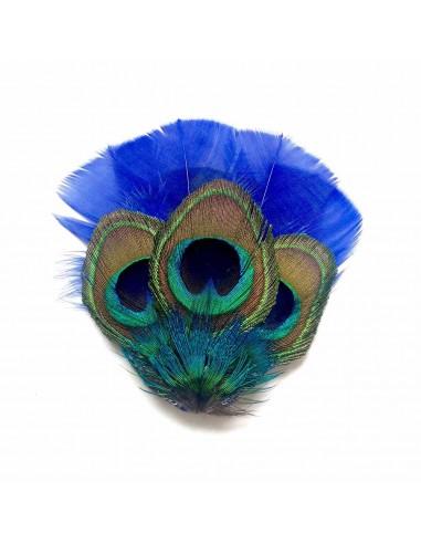 Grand Zozo Paon Bleu - bibi plumes de paon - Séraphine Bijoux - Comptoir Doré