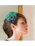 Grand Zozo Paon Vert - bibi plumes de paon - Séraphine Bijoux - Comptoir Doré