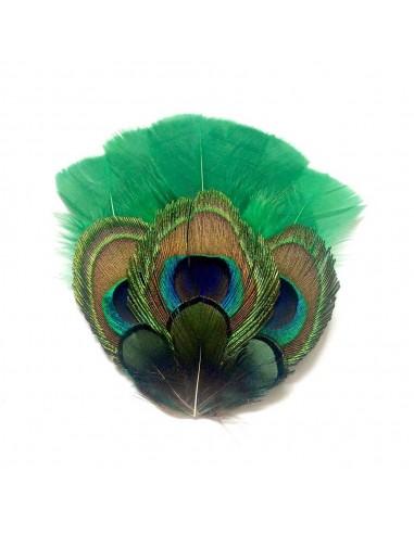 grand zozo paon vert bibi en plumes de paon s raphine bijoux comptoir dor. Black Bedroom Furniture Sets. Home Design Ideas