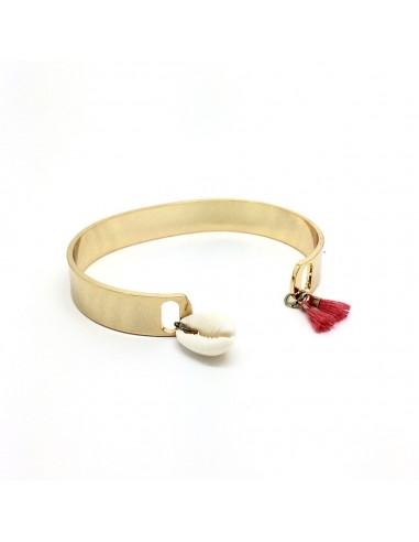 Bracelet Léon Corail - Jonc à pompon - Séraphine Bijoux