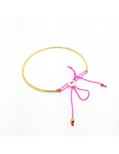 Bracelet Alceste Fluo - jonc lien rose fluo - Séraphine Bijoux - Comptoir Doré