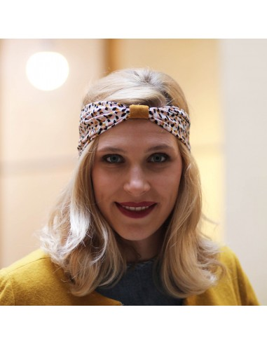 Bandeau Cheyenne - headband moutarde rose noir - Comptoir Doré