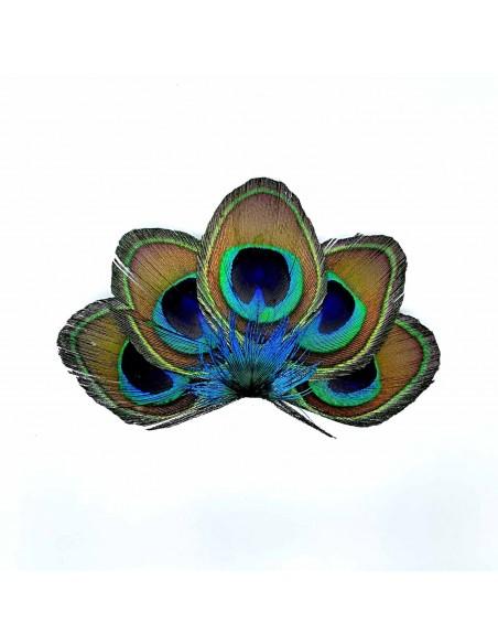 Grand Zozo Paon - barrette plume de paon - Séraphine Bijoux - Comptoir Doré
