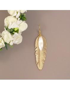 Boucles d'oreilles Plume - Collection Mariage - MdeB Créations - Comptoir Doré