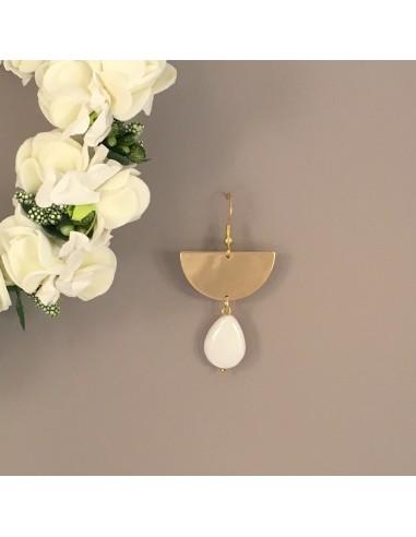 Boucles d'oreilles Lou Nacre - Collection Mariage - MdeB Créations - Comptoir Doré