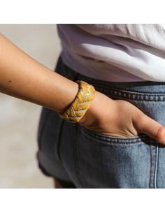 Bracelet Réversible Jaune Safran x Doré - Alma Créations - Comptoir Doré