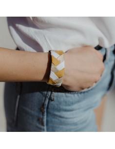Bracelet 3 Brins Jaune Safran x Doré - Alma Créations - Comptoir Doré