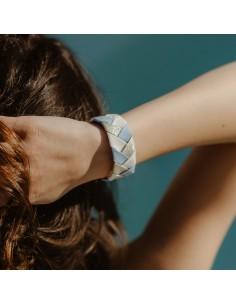 Bracelet 3 Brins Bleu Ciel x Doré - Alma Créations - Comptoir Doré