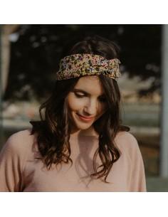 Bandeau Fleurs - headband fleurs moutarde - Alma Créations - Comptoir Doré