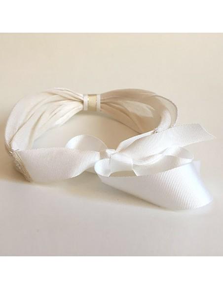Bandeau Dastar Blanc Crème - bandeau mariée - Les Créations de Juliette - Comptoir Doré
