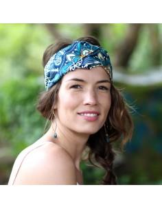 Bandeau Wax Saphir - headband tissu africain - Comptoir Doré