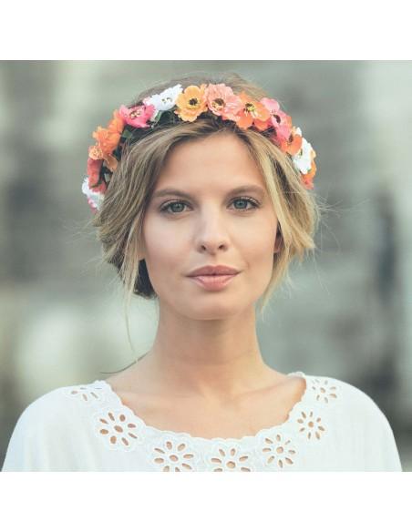 Couronne de fleurs Aganippe Corail - Séraphine Bijoux - Comptoir Doré