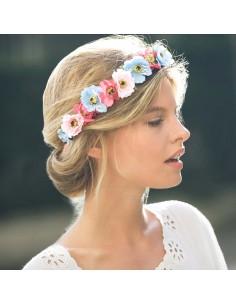Couronne de fleurs Aganippe Bleu Rose - Séraphine Bijoux - Comptoir Doré