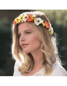 Couronne de fleurs Aganippe Orange Jaune - Séraphine Bijoux - Comptoir Doré