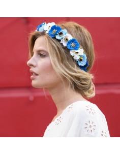 Couronne de fleurs Aganippe Bleu
