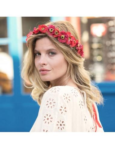 Couronne de fleurs Aganippe Rouge - Séraphine Bijoux - Comptoir Doré