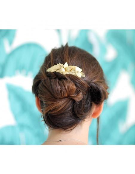 Peigne Adonis - peigne feuilles dorées - Comptoir Doré