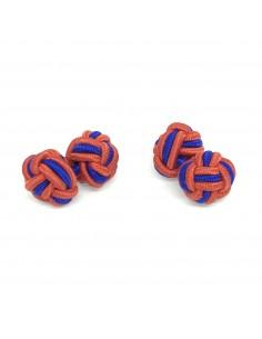 Boutons de manchette passementerie orange et bleu - Comptoir Doré