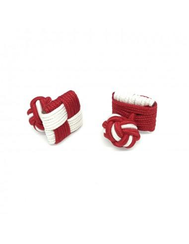 Boutons de manchette passementerie Carrés Rouge et Blanc - Comptoir Doré