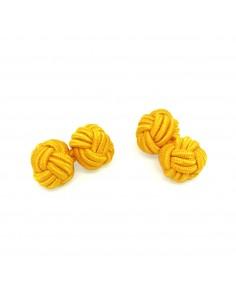 Boutons de manchette passementerie jaune moutarde - Comptoir Doré