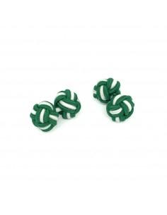 Boutons de manchette passementerie vert et blanc - Comptoir Doré