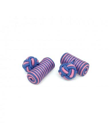 Boutons de manchette passementerie cylindre Rose et Bleu - Comptoir Doré