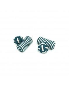 Boutons de manchette passementerie cylindre Vert et Blanc - Comptoir Doré