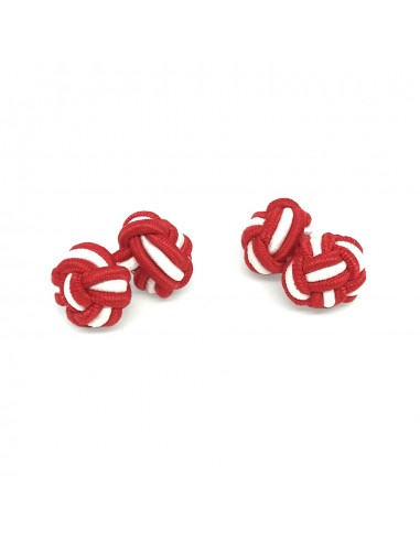 Boutons de manchette passementerie Rouge et Blanc - Comptoir Doré