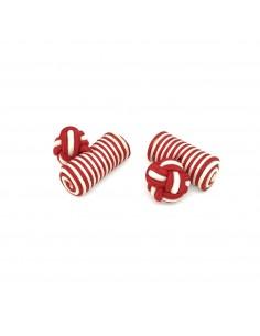 Boutons de manchette passementerie cylindre Rouge et Blanc - Comptoir Doré