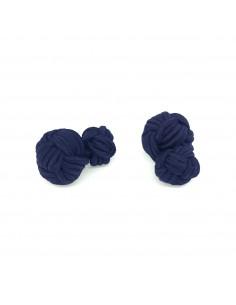 Boutons de manchette passementerie réversibles Bleu Marine - Comptoir Doré