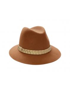 Chapeau Mérinos Camel & Tresse dorée