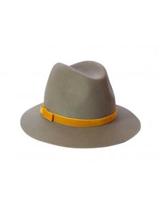 Chapeau Mérinos Gris & Ruban velours - chapeau feutre femme - Alma Créations - Comptoir Doré