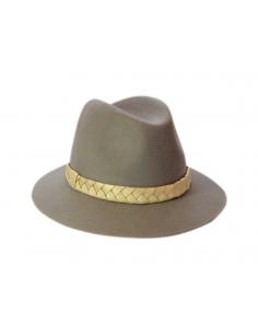 Chapeau Mérinos Gris & Tresse dorée