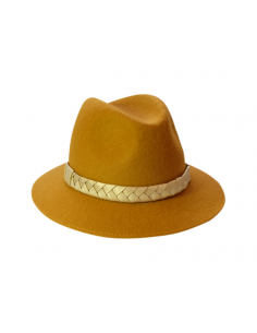 Chapeau Mérinos Moutarde - chapeau feutre femme - Alma Créations - Comptoir Doré