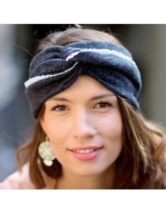 Bandeau Charlotte Ardoise - bandeau hiver gris foncé - Comptoir Doré