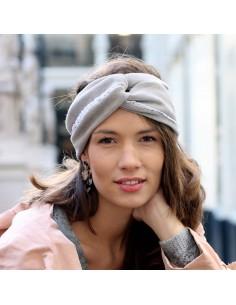 Bandeau Charlotte Gris Soie - bandeau hiver gris clair - Comptoir Doré