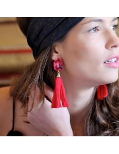 Boucles d'oreilles Zenia écaille et maxi pompon - MdeB Créations - Comptoir Doré