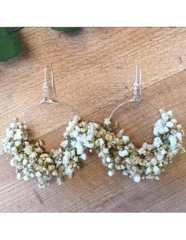 Boucles d'oreilles Gypsophile - fleurs stabilisées - FlowerbyB - Comptoir Doré