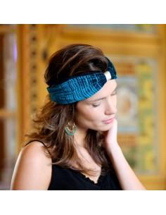Bandeau Vénus - headband velours turquoise - Comptoir Doré