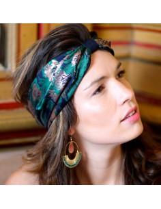 Bandeau Tatiana - headband vert, marine, or rose  - Comptoir Doré