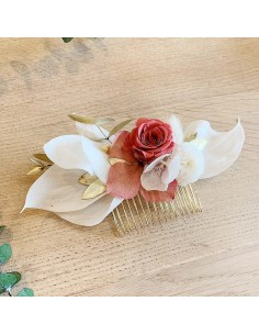 Peigne Vulcain - fleurs stabilisées - BFlower - Comptoir Doré