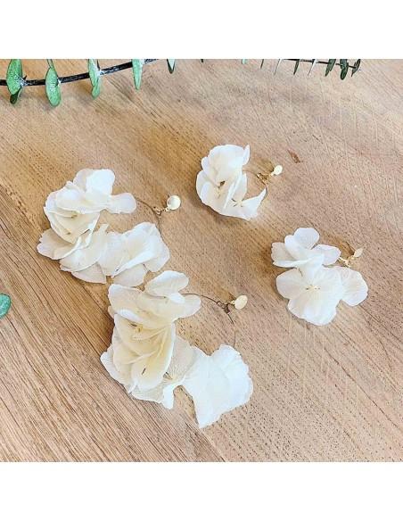 Boucles d'oreilles Hygie - hortensias blancs stabilisés - BFlower - Comptoir Doré