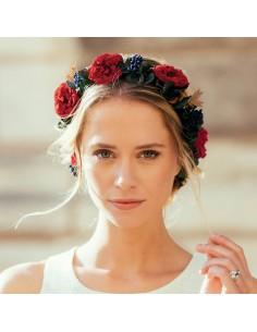 Couronne de fleurs Babylone - roses rouges - Céligné Paris - Comptoir Doré