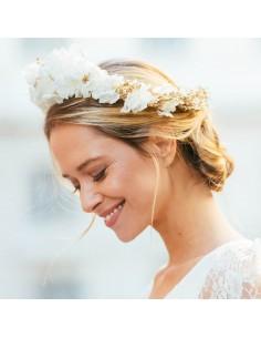 Couronne de fleurs blanches Opéra - hortensias stabilisés - Céligné Paris - Comptoir Doré