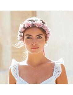 Couronne de fleurs rose Capucines - hortensias stabilisés - Céligné Paris - Comptoir Doré